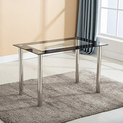 Mecor Dining Table Modern Glass Top Kitchen Table Metal Legs 47IN for 4/6 Persons Rectangular (Black)