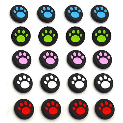20 Pcs Silicone Thumb Stick Grips Cap Cover Case Thumbsticks CapsThumbsticks for Nintendo Switch Sony PS4 PS3 Xbox ONE Xbox 360 WII Controller Joystick Controle Cat Dog Paw