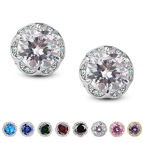 Jardme 14K White Gold Plated Cubic Zircon Earring Stud Crown Shape Crystal Round Earring Stud(4ct) (Green Diamond Stud Earrings)