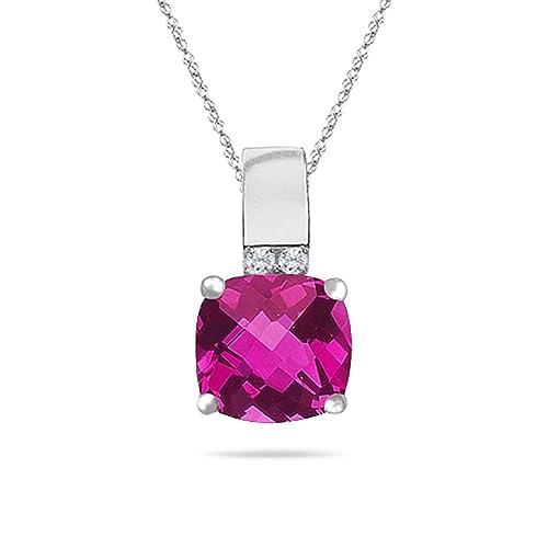 Amazon.com: 0,04 cts Diamante y 5,20 cts Rosa Topaz Colgante ...