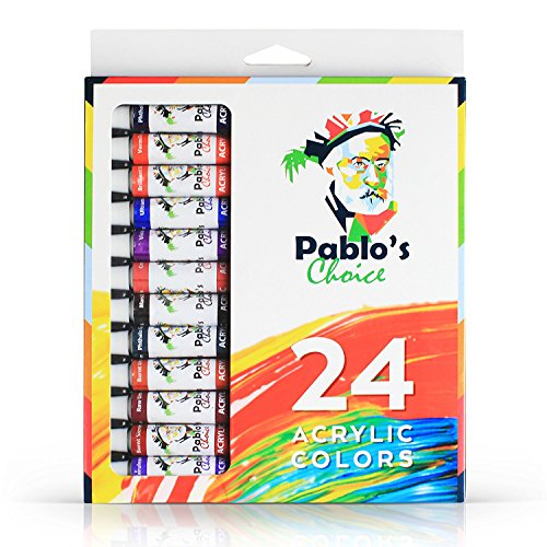 Pablos Choice 24 Acrylic Paint Set - Insanely Professional Quality, Crazy Good Pigments, Phenomenal Vibrant Colors | 12ml Tubes are Non-Toxic & Safe - Designed For Craft, Hobby, or Pro