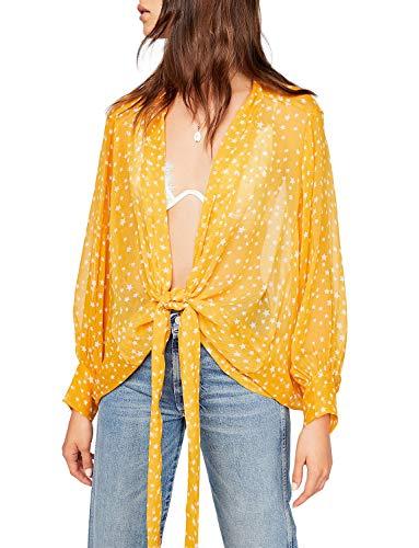 - Women's Flowy Tie Front Long Sleeve Sheer Shrug Lightweight Thin Cardigan Tie-Top Wrap (XL, Yellow)