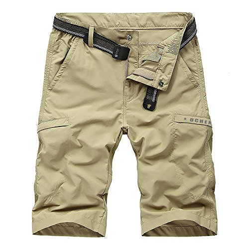 Men's Outdoor Lightweight Quick Dry Belted Cargo Shorts with Multi Pockets (Khaki, 36)