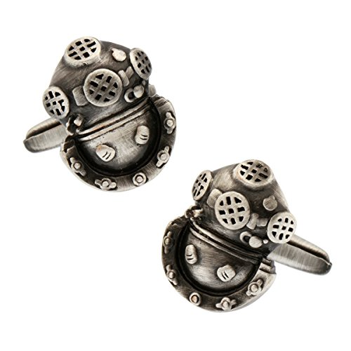MRCUFF Diver Diving Scuba Helmet Sponge Tarpon Springs Florida Pair Cufflinks in a Presentation Gift Box & Polishing Cloth