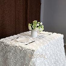 "B-COOL 3d floral tablecloth Rectangular 60""x102"" White Tablecloth rosette fabric Rosette Florals Satin Tablecloths"