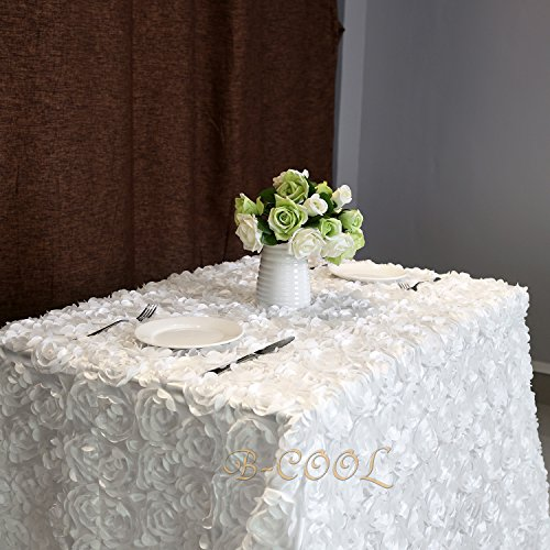 B-COOL rosette white tablecloth Rosette Florals Satin Rectangular Tablecloth For Wedding/Party 90