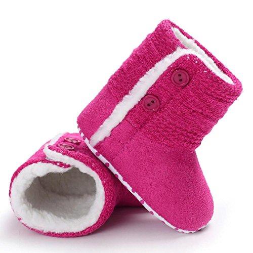 cinnamou Kleinkind Baby Mädchen Warm Streifen Bogen Schneestiefel Weiche Sohlen Krippe Schuhe Stiefel Winterstiefel für 0 ~ 6 Monate, 6 ~ 12 Monate, 12 ~ 18 Monate Pink