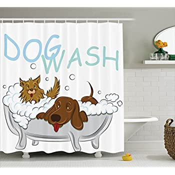 Playful Dogs Bathing In A Bathtub Bath Time Grooming Clean Pets Theme Illustration Polyester Fabric Bathroom Shower Curtain Set With Hooks