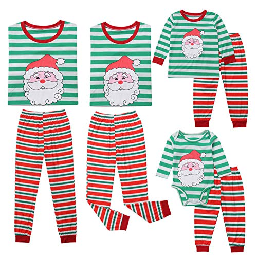 Xmas Striped Family Matching Outfits Set Christmas Family Pajamas Adult Kid Sleepwear Nightwear Pjs Photgraphy Clothing(XXXL,Multi)