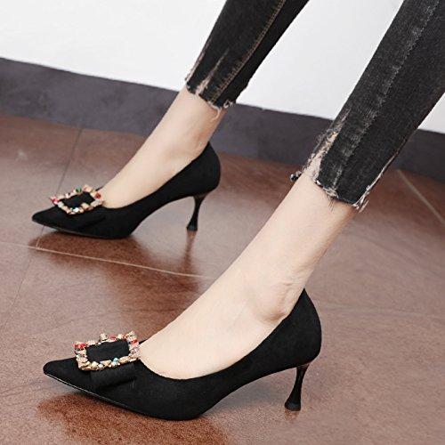 Xue Qiqi pequeño tacón alto negro zapatos de mujer luz saliva taladrar metal al punto de anclaje único salvaje marea zapatos Negro
