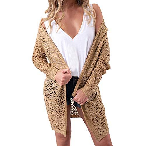 Syban Women's Hooded Knitwear Open Front Cardigan Sweaters Outerwear(Large,Zx-Khaki)