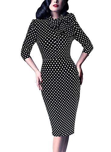 Women's 1950s Retro 3/4 Sleeve Bow Cocktail Party Evening Dress Work Pencil Dress (XX-Large, Black White ()