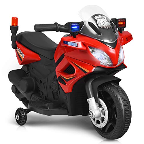 Costzon Kids Police Motorcycle, 6V Electric Battery Powered Ride On Bike w/ Training Wheels, Police Lights & Siren Sound, Headlights & Music, Pedal, Rechargeable Electric Toy for Boys & Girls (Red)