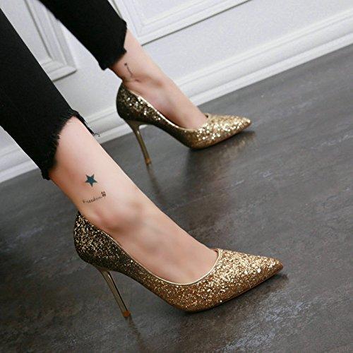 elegante De Zapatos lady 36 Sharp Boda Bien Altos El Cambio 5cm muelle 34 8 Mdrw Tacones Talón Oro Gradual Superficial ocio trabajo Solo Lentejuelas U5Twqwx