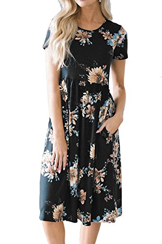 Allimy Women Summer Casual Short Sleeve Floral Print Knee Length Midi Dresses with Pockets Small