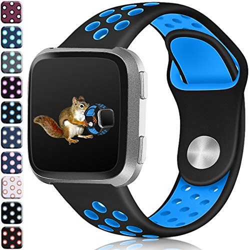 Wepro Bands Compatible with Fitbit Versa SmartWatch, Versa Lite SE Sports Watch Silicone Replacement Band for Women Men Kids, Small, Black on Blue