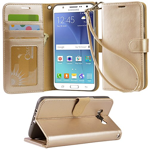 ARAE Galaxy J7 wallet Case with Kickstand and Flip cover (ChampagneGold)