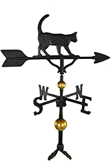 product image for Montague Metal Products 32-Inch Deluxe Weathervane with Satin Black Cat Ornament