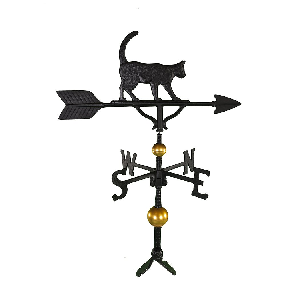 Montague Metal Products 32-Inch Deluxe Weathervane with Satin Black Cat Ornament WV-381-SB
