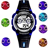 Kids Sports Digital Led Watch 7-Color Flashing Light for Boys,Girls,Children's Watches Ages 4-12 Years Old (Black-Blue)