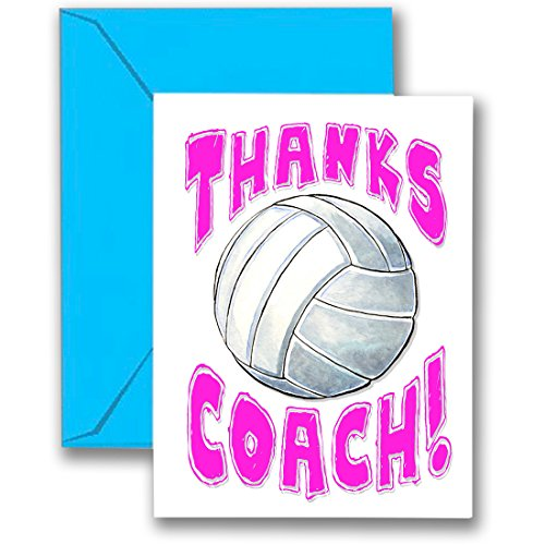 Play Strong Volleyball 3-Pack Thanks Awesome Volleyball Coach! (Pink) Sports POWERCARD Greeting Cards (5x7) 3-Pack Perfect for Youth Sports - Coach Will Love it! #AllProfitsToHelpKids ...