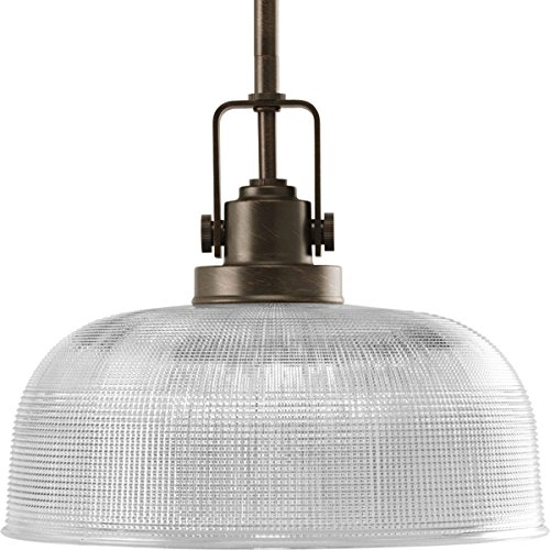 Progress Lighting P5026-74 Archie One Light Pendant, Venetian Bronze Finish with Clear Prismatic Glass