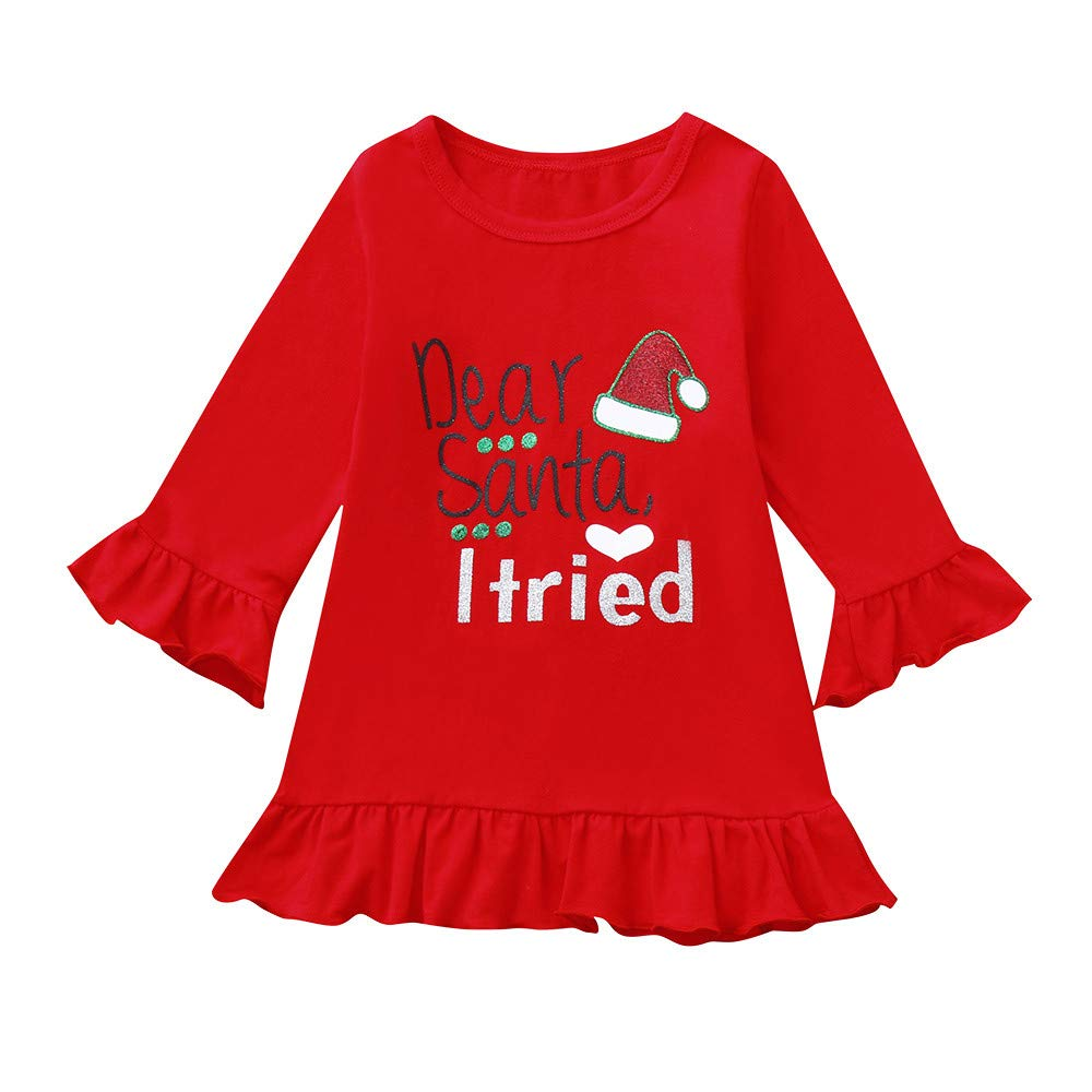 TLoowy Baby Girl Toddler Princess Dress Ruffles Long Sleeve Christmas Party Dresses