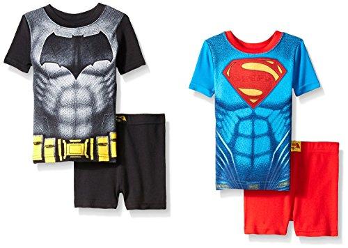 Justice League Little Boys Superman VS Batman 4pc Cotton Short Set, Multi, 2T