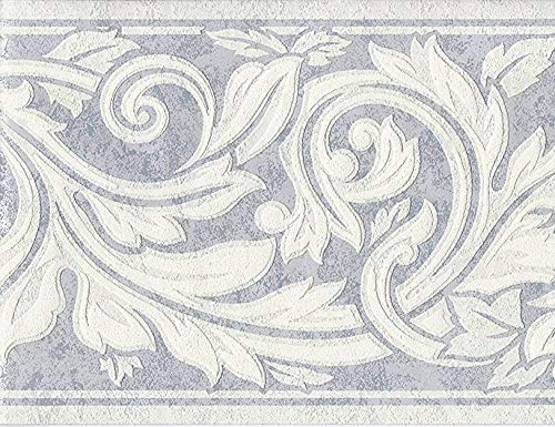Acanthus Scroll - Wallpaper Border Eggshell White Textured Acanthus Leaf Scroll on Silver Blue