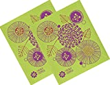Trendy Tripper Swedish Dishcloth, Jenn Ski Mid-Century Modern Design - FLORAL FLOWERS (Red + Purple on Apple) (2)