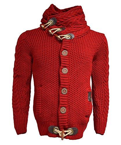 Runcati Mens Autumn Casual Multi-Layer Collar Button Closure Knitting Sweaters Cardigan