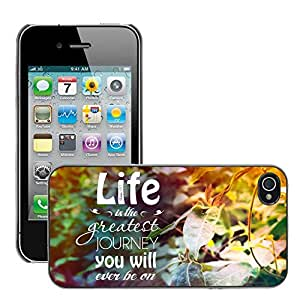 Hot Style Cell Phone PC Hard Case Cover // M00045746 quote nature life purple green // Apple iPhone 4 4S