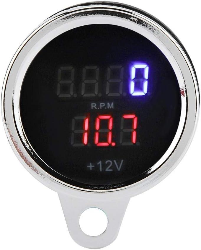 Samfox 2 In 1 Motorrad Led Digital Voltmeter Drehzahlmesser Manometer Metall Tacho Auto