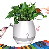 Smart Music Flowerpot,ALBK Wireless Bluetooth Speaker Stereo Sound Night Lamp Music Pot -White