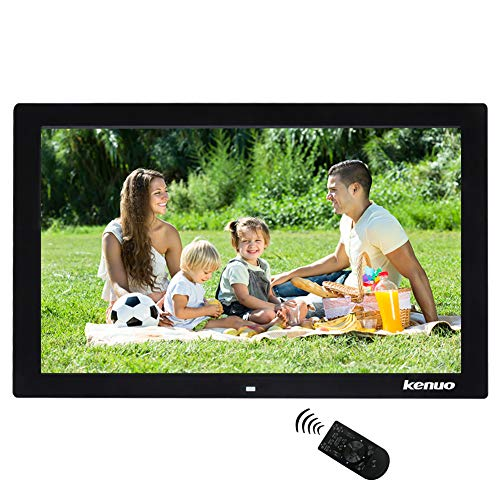 Digital Picture Frame 17 inch,Kenuo High HD 1440×900(16:9) Eletronic Photo Frame with Video Player Stereo MP3 Calendar Auto On/Off Timer – Black