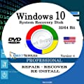 Windows 10 - 32/64 Bit DVD SP1, Supports PROFESSIONAL Edition. Recover, Repair, Restore or Re-install Windows to Factory Fresh!