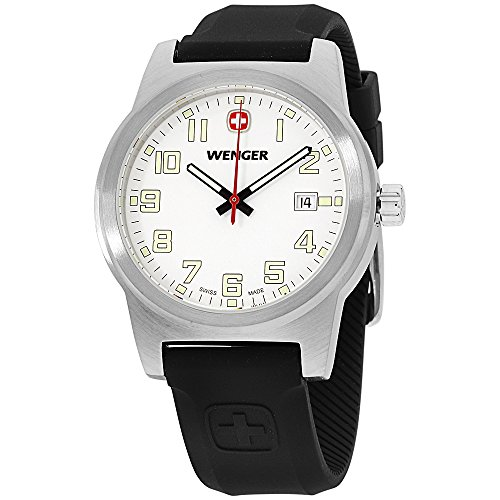 Wenger Swiss mens Field Classic Watch Large 42mm White Dial Date Silicone Rubber Sports Strap 01.0441.117