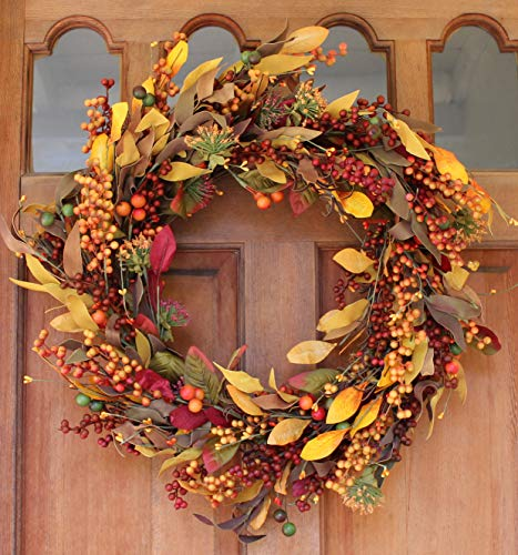 Saranac Berry Fall Front Door Wreath 22 Inches - Lush Seasonal Foliage and Berries, Approved for Covered Outdoor Use, with Beautiful White Gift Box -
