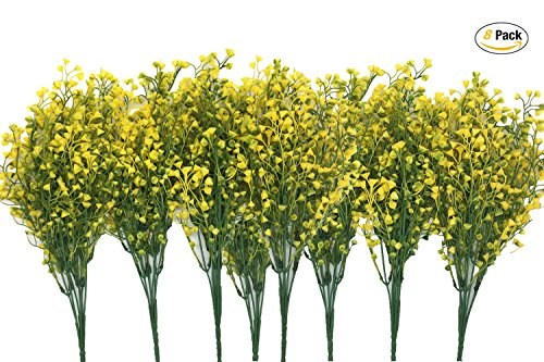CATTREE Artificial Shrubs Bushes, Plastic Fake Plants Wedding Indoor Outdoor Home Garden Verandah Kitchen Office Table Centerpieces Arrangements Christmas Decoration Yellow 8 pcs by CATTREE