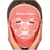 Sofida Cold Hot Gel Face Eye Mask - Reduce Puffy Dark Circles Bags Under Eyes Migraines Stress Relief - Heat Ice Therapy Pack Compress - Sinus Pressure Acne Headaches Relaxation (Soft pink)