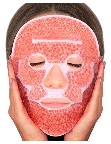 Sofida Cold Hot Gel Face Eye Mask - Reduce Puffy Dark Circles Bags Under Eyes Migraines Stress Relief - Heat Ice Therapy Pack Compress - Sinus Pressure Acne Headaches Relaxation ()