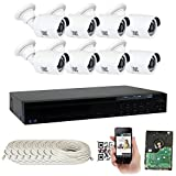 GW Security 8 Channel 5 Megapixel NVR IP PoE Security Camera System with 8 5MP 1920p IP PoE Outdoor Indoor Bullet Security Cameras - 5 Megapixel (3,000,000 more pixels than 1080P)