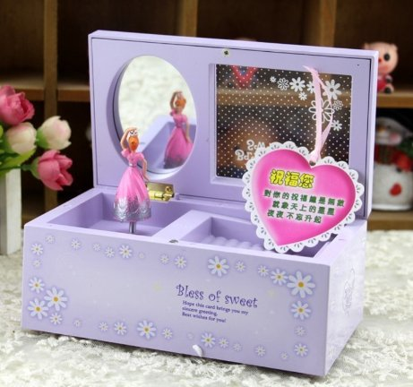 Creative Rectangular Rotating Girl Mechanical Musical Box Jewelry Box with Transparent Cover by ozone48 (purple)