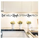 Eat Well, Laugh Often, Love Much Vinyl Lettering Wall Decal Sticker (4'' H x 42'' L, Black)