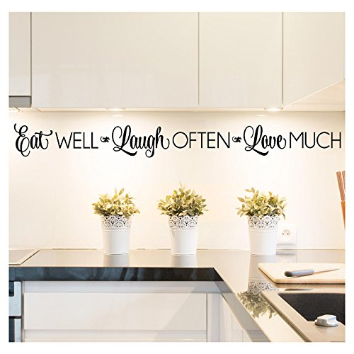 Decal Sticker Lettering Wall (Eat Well, Laugh Often, Love Much Vinyl Lettering Wall Decal Sticker (4