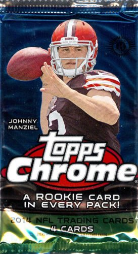 Teddy Topps (1 Pack of 2014 Topps Chrome Football Cards from hobby box (4 cards per pack) - Possible Rookie Autographs of Johnny Manziel, Blake Bortles, Teddy Bridgewater, Sammy Watkins, Odell Beckham and more)