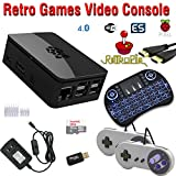 Raspberry Pi 3 based retro games emulation system retropie - 32GB edition with 2x snes type controllers and wireless keyboard/mouse