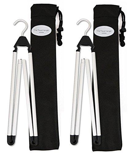 Travel Hanger, Car Hanger, Clothes Hanger- Foldable Hanger, Folding Hanger, Collapsible Hanger, Portable Hanger (Matte Silver & Black) (Folding Clothes Travel)