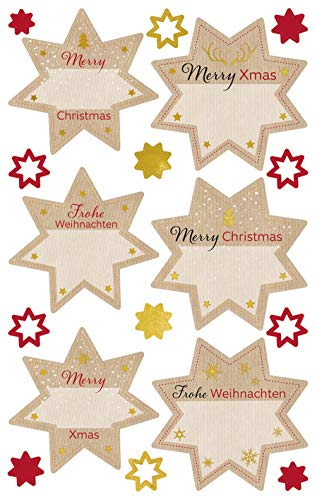 Avery Zweckform 52912 Christmas Stars Wall Stickers Paper Embossed) ()