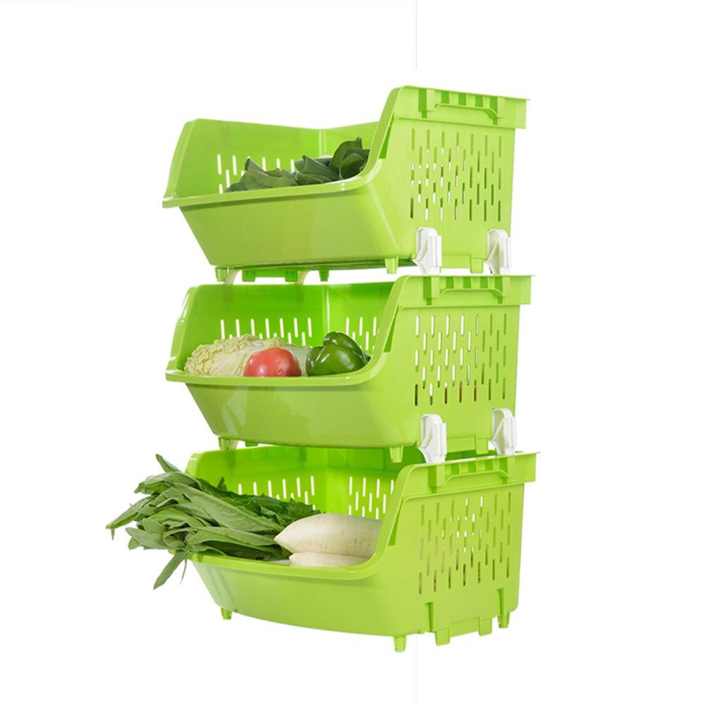 Floating Shelves Rack Thickening Large Kitchen Floor Fruit and Vegetable Racks Kitchen Supplies Corner Rack Dish Shelf (Color : Green, Size : 44.53673cm)